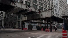 Stationary shot of Madison and Wabash after the station demolition Stock Footage
