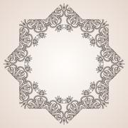 Intricate star floral vector frame Stock Illustration