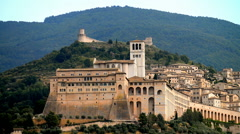 Panorama of Assisi (Italy) with Saint Francis Cathedral Stock Footage