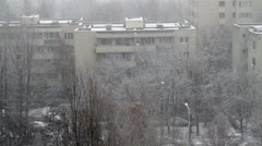 Winter In The City, First Snow, White Building Rooftops, December Snow Stock Footage