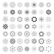 Set of abstract floral and circular patterns. Mandalas. Japanese emblems Stock Illustration