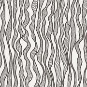 Seamless pattern of curves manually drawn lines with strokes Stock Illustration