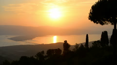 Landscape view from the panoramic road around Monte Argentario, Italy Stock Footage