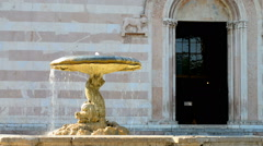 close-up of the fountain in front of Basilica di Santa Chiara, Assisi, Umbria, I - stock footage