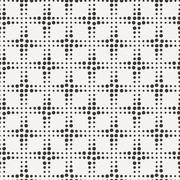 Seamless geometric pattern of dots of different sizes in two colors - stock illustration