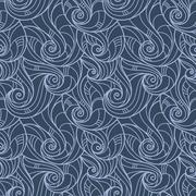 Seamless hand-drawn pattern of curls similar wave - stock illustration