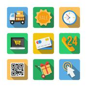 Nine different icons in a flat style Stock Illustration