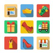 Nine different icons in a flat style - stock illustration
