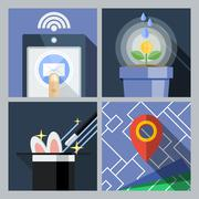 Stock Illustration of A set of flat icons with a smartphone, wi-fi signal