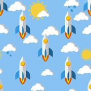 Bright seamless pattern with rockets, clouds and sun - stock illustration