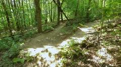 Mountain bike, sharp turn track Stock Footage