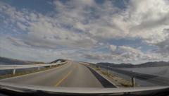 Dashboard cam driving Atlantic Ocean Road Norway Stock Footage
