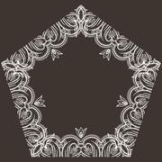 Intricate floral frame pentagonal - stock illustration