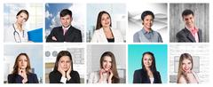 Collage of many different  human professions - stock photo