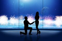 Stock Illustration of man makes a proposal to woman