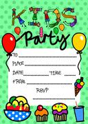 Kids Party Invitation - stock illustration