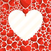 Greeting card with frame of red hearts Stock Illustration