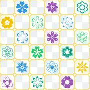 Intricate colorful pattern of flowers with a touch of retro - stock illustration