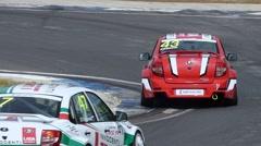 Ring race, sharp turn track Stock Footage