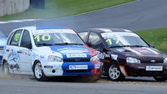 clash of racing cars - stock footage