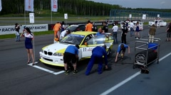 check the tires before the start - stock footage