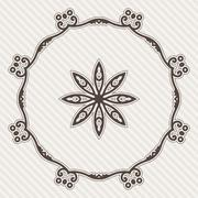 Filigree Flower Henna Pattern in Contrasting Colors - stock illustration