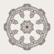 Stock Illustration of Filigree Flower Henna Pattern in Contrasting Colors