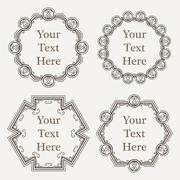 Ornate richly decorated vintage frame in Victorian style - stock illustration