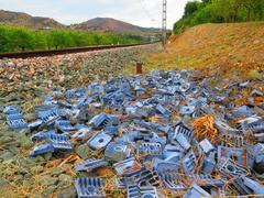 Railway Sleeper Clips - stock photo