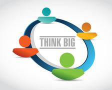 think big people network sign concept - stock illustration