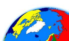 Arctic north polar region on globe political map - stock illustration
