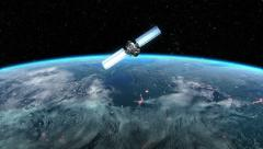 Modern Satellite is Orbiting the Earth - stock footage