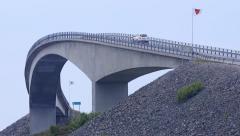 Atlantic Ocean Road famous bridge Norway close telephoto view Stock Footage