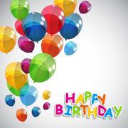 Color Glossy Balloons Happy Birthday Background Vector Illustrat - stock illustration