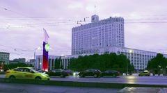 Government House of the Russian Federation and night traffic Stock Footage