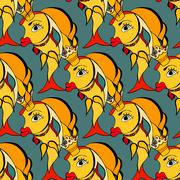 Goldfish with crown - stock illustration