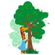 Stock Illustration of Giraffe helps birds