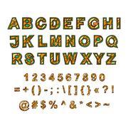 Decorative English alphabet, hand-drawn. Color. Capital letters - stock illustration