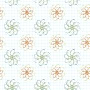 Seamless pattern of flowers on a checkered paper - stock illustration