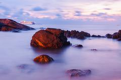 High dynamic range technique seascape in twilight - stock photo
