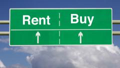 Stock Video Footage of To rent or buy a financial decision.