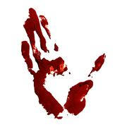 Stock Illustration of Red greased hand imprint of gouache
