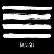 Set of four traced grunge contrasting brushes Stock Illustration