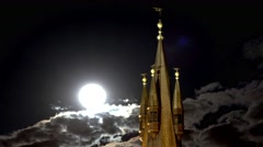 Fabulous top of the castle tower with a full moon. Stock Footage