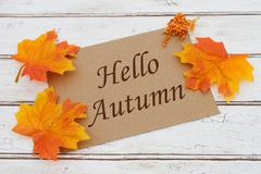 Hello Autumn Card - stock photo