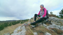 JIB CRANE: Day hiking in Crimean mountains Stock Footage