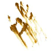 Yellow greased hand imprint of gouache - stock illustration