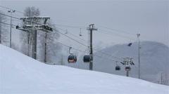 Gondola ski lift in Rosa Khutor Alpine Resort Stock Footage