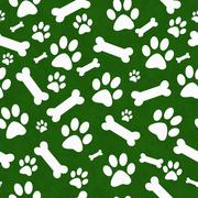 Green and White Dog Paw Prints and Bones Tile Pattern Repeat Background - stock illustration