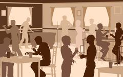 Lively pub - stock illustration